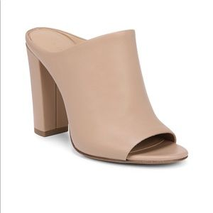 VINCE Leather Block Heeled Mule